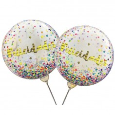 Globo Burbuja Confetti Felicidades  Globos Diseños