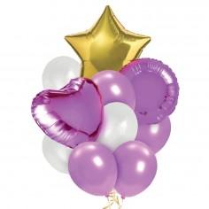 Set Globos Estrella Lila Cotillón Activarte Cotillón Día de los Enamorados