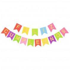"""Guirnalda Banderín """"Feliz Cumpleaños"""" Colores Dorado 1,600.00"""