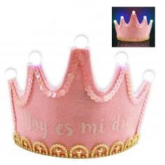 Corona Cumpleaños Luces Rosada  Guirnaldas y Colgantes