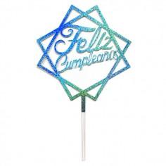 Topper Torta Cuadrado Feliz Cumpleaños  Decoración Cumpleaños y Fiestas
