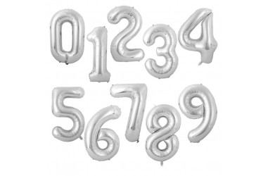 Globo Metálico 70 cm Números Plateado  Globos Metálicos