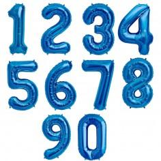 Globo Metálico Grande Números Azul  Globos Metálicos