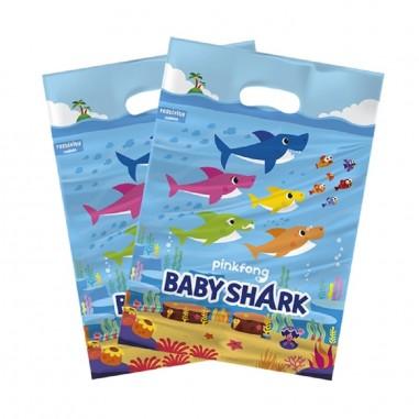 Bolsitas Cumpleaños Baby Shark x 6  Cotillón Baby Shark