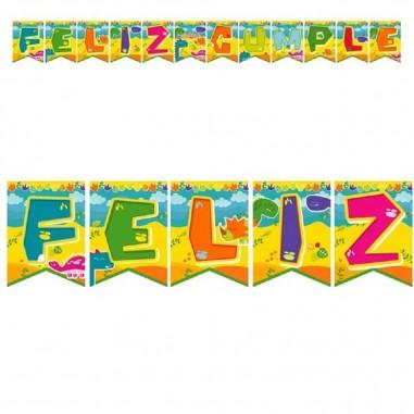 Guirnalda Feliz Cumpleaños Dinosaurio Peque  Cotillon Dinosaurio