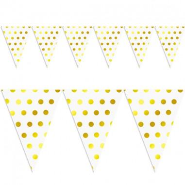 Banderín Lunares Dorados x 10  Guirnaldas y Colgantes