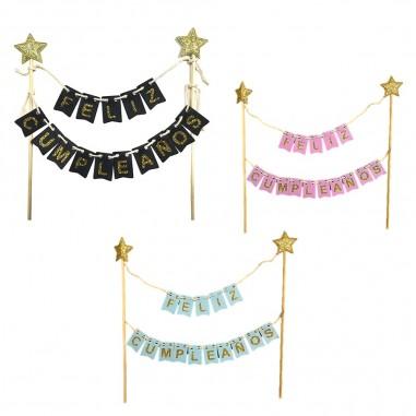 Decoración Banderines Torta Feliz Cumpleaños  Decoración Cumpleaños y Fiestas