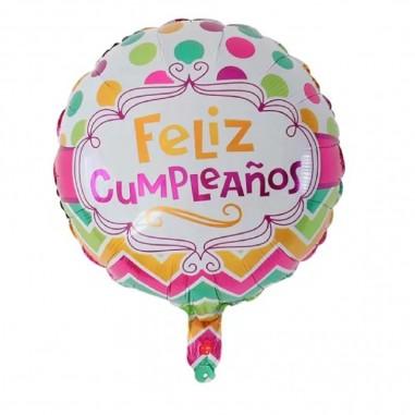 Globo Metálico Feliz Cumpleaños Lunares Cotillón Activarte Globos Metálicos