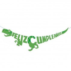 Cartel Feliz Cumpleaños Dinosaurio  Cotillon Dinosaurio