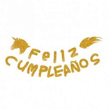 Guirnalda Glitter Feliz Cumpleaños Unicornio  Cotillón Unicornio