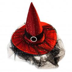Gorro Bruja Velo y Brillos Rojo  Cotillón y Disfraces Halloween