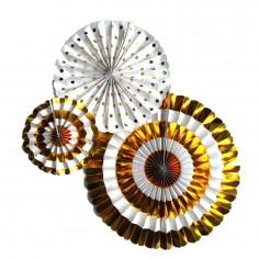 Set 3 Abanicos Dorado  Guirnaldas y Colgantes