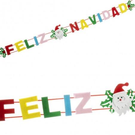 Guirnalda Fieltro Feliz Navidad  Decoración y Cotillón Navidad