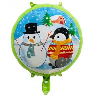 Globo Metálico Redondo Navidad Pingüino  Decoración y Cotillón Navidad