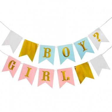 Guirnalda Boy Girl Revelación De Género Cotillón Activarte Baby Shower y más
