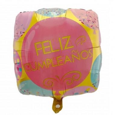 Globo Metálico Feliz Cumpleaños Globos Rosados Cotillón Activarte Globos Metálicos