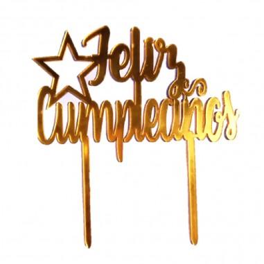 Decoración Topper Torta Feliz Cumpleaños Estrella  Velas