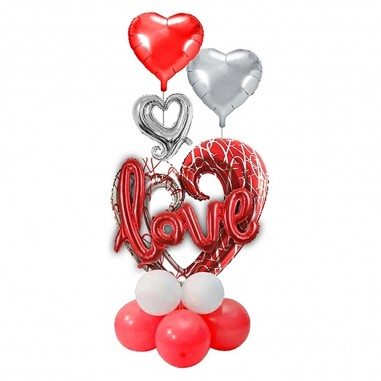 Set Globo Metálico Corazones Love  Cotillón Día de la Mamá y Enamorados