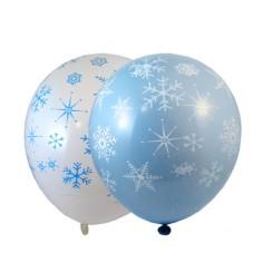 Globos Cumpleaños Nieve x 12  Cotillón Frozen
