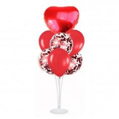 Set 7 Globos con Base Corazón Rojo  Globos Diseños