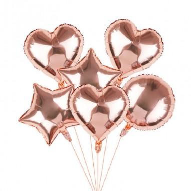 Set Globos Metalicos Rose Gold x 6  Cotillón Día de los Enamorados