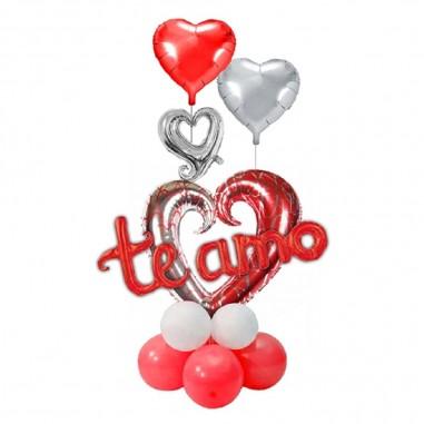 Set Globo Metálico Corazones Te Amo  Cotillón Día de los Enamorados