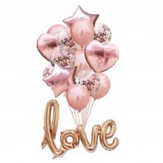 Set 15 Globos Love Rose Gold  Cotillón Día de los Enamorados
