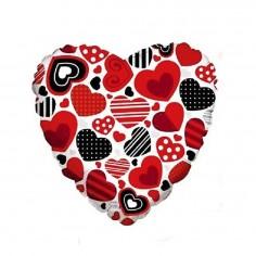 Globo Metálico Corazones  Cotillón Día de los Enamorados