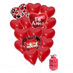 15 Globos Corazón más BALÓN HELIO  Cotillón Día de los Enamorados