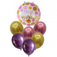 Set Globo Feliz Cumpleaños Rose Dorado  Globos Diseños