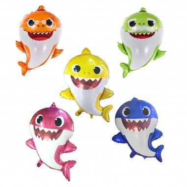 Set Familia Globos Metálico Baby Shark x 5  Cotillón Baby Shark