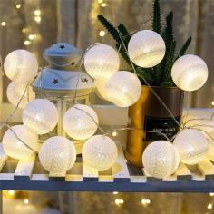 Guirnalda Esferas Luces 1,8 m Blanca  Decoración Cumpleaños y Fiestas
