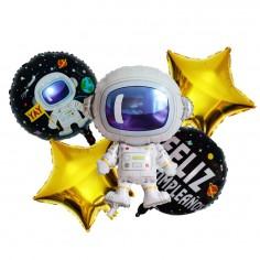 Set 5 Globos Metálicos Astronauta  Cotillón Espacial