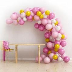 Arco Orgánico de Globos Rosado Dorado  Cotillón Día de los Enamorados