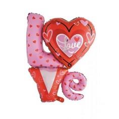 Globo Foil Love Corazones  Cotillón Día de la Mamá y Enamorados