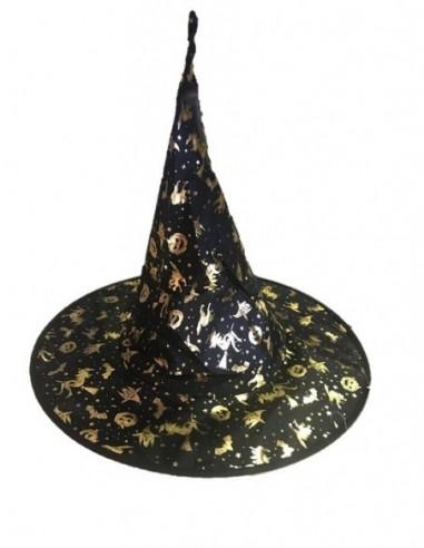 Gorro Bruja Diseño Halloween Dorado  Cotillón y Disfraces Halloween