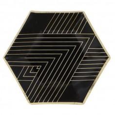 Plato Diseño Negro Líneas Doradas x 6  Líneas Diseño
