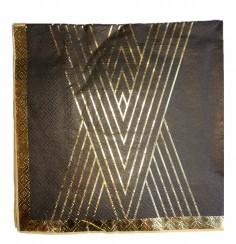Servilleta Diseño Negro Líneas Dorado x 12  Líneas Diseño
