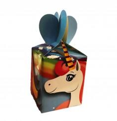 Caja Sorpresa Unicornio Celeste x 6  Cotillón Unicornio