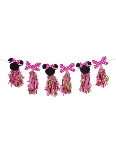 Guirnalda Tassel Minnie Mouse Dorado  Cotillón Minnie Mouse