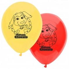 Globo Cumpleaños Perro Chocolo x 12  Cotillón Perro Chocolo