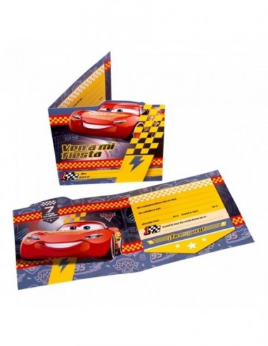 Invitaciones Cumpleaños Cars x 6  Cotillón Cars