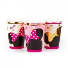 Vaso Minnie Mouse Dorado x 6  Cotillón Minnie Mouse