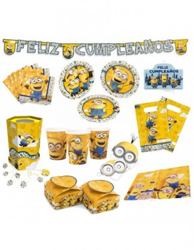Pack Cumpleaños Minions x 30  Cotillón Minions