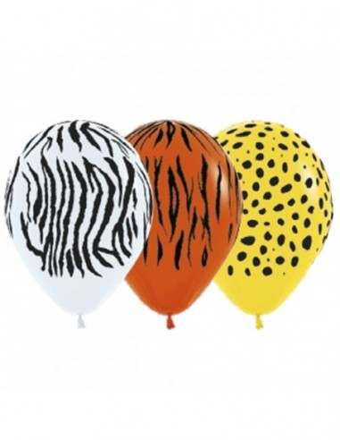 Globo Látex Animal Print x 12  Cotillón Animalitos