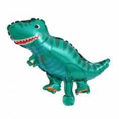 Globo Metálico Dinosaurio Tiranosaurio Verde  Cotillon Dinosaurio