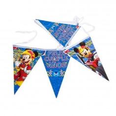 Banderín Feliz Cumpleaños Mickey Mouse  Cotillón Mickey Mouse