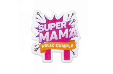 Vela Súper Mamá  Cotillón Día de la Mamá y Enamorados