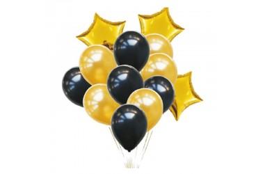Set Globos Estrella Dorado  Cotillón Día de los Enamorados