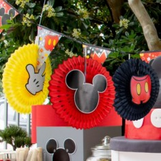 Abanico Decoración Mickey Mouse x 3  Cotillón Mickey Mouse